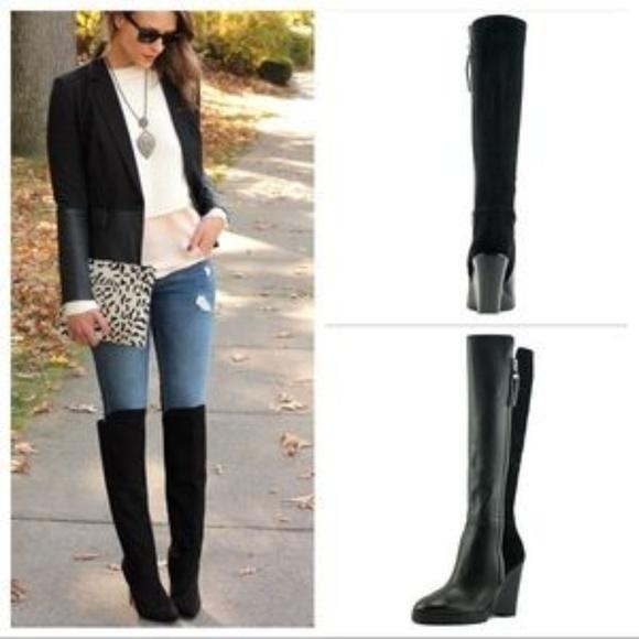286c946c109 NWB Michael Kors Clara Black Wedge Knee High Boots.  M 5a6b8758a44dbea53ce13504